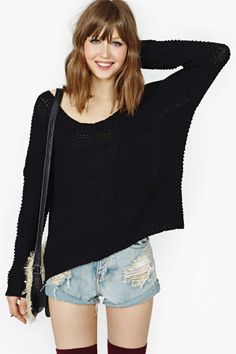 Bright Morning Sweater - Black | Shop Tops at Nasty Gal