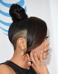 taraji henson hair at the naacp awards 2017 Shaved Side Hairstyles, Undercut Hairstyles, Natural Hair Updo, Natural Hair Styles, Short Hair Cuts, Short Hair Styles, Black Girl Hair Cuts, Black Hairstyles Crochet, Tapered Hair