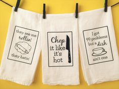 Add some humor to your kitchen with this set of 3 flour sack dish towels that combine various rap lyrics and kitchen puns.