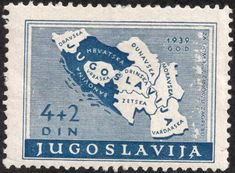 Yugoslavia stamp,1940 for the Zagreb postal workers fund, showing all the areas within the country.  Apparently, the country to the north is called God.  God's own, eh!  AM