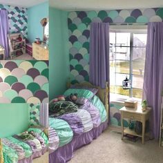 Purple and blue bedroom ideas for teenage girls teal and purple bedroom teal girls bedroom teal . purple and blue bedroom ideas for teenage girls Decoration Bedroom, Bedroom Themes, Bedroom Ideas, Mermaid Bedroom Decor, Mermaid Nursery Theme, Little Mermaid Nursery, Mermaid Bedding, Girls Room Wall Decor, Bedroom Wall