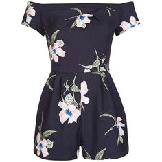 LOVE BARDOT PLAYSUIT IN NAVY FLOWER (€45) ❤ liked on Polyvore featuring jumpsuits, rompers, playsuit romper, flower romper, navy rompers, blue rompers and navy romper