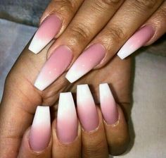 long ombre nails, ombre nails, and white & pink nails image