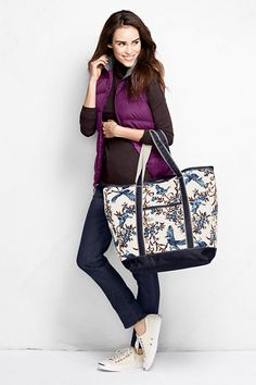 Print Large Open Top Tote from Lands' End