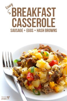 Easy Breakfast Casserole with Sausage, Hashbrowns and Eggs Total Time: 45 minutes/8 servings 1 lb Italian sausage 1 medium white onion, diced 3 cloves garlic, minced 1 red bell pepper, cored and diced 6 eggs 1/3 C milk 1 (20 oz) bag frozen hash browns, thawed 2 C shredded cheddar or mozzarella cheese 1/4 teaspoon freshly-ground black pepper (optional topping: thinly sliced green onions)  Heat oven to 375 /30 min