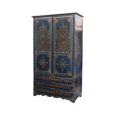 Moroccan armoire, moorish painted armoire, handmade moroccan furniture, custom made moorish moroccan furniture imports ($1,300) found on Polyvore