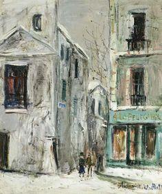 utrillo prints | La Belle Gabrielle, Montmartre por Maurice Utrillo (1883-1955, France)