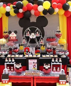 How great is this Mickey Mouse birthday party! See more party ideas at… Mickey Mouse Birthday Decorations, Mickey 1st Birthdays, Mickey Mouse First Birthday, Mickey Mouse Clubhouse Birthday Party, Mickey Mouse Parties, 2nd Birthday, Birthday Ideas, Mickey Mouse Backdrop, Mickey Mouse Balloons