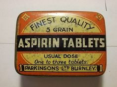 Vintage Parkinsons Aspirin Tablets Small Tin. G/VG