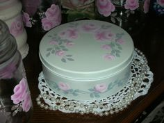 """SWEET TIN WITH PINK ROSES 7.25X2.75"""" ej shabby chic cottage hand painted T3 VINE #FIGIS #FrenchCountry"""