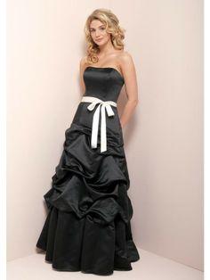 Strapless Full Length Satin Ruffles Sash Princess Bridesmaid Dress