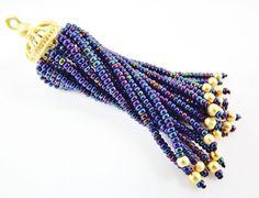 Long Blue Iris Beaded Tassel  22k Matte Gold Brass by LylaSupplies, $10.00