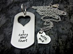 I carry your heart with me - His and Hers Necklace and Keychain Set - Couples Jewelry on Etsy, $34.00