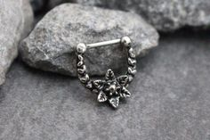 Gorgeous Rose Silver 16G Septum Clicker Piercing in Silver for Septum Ring, Nipple Ring, Tragus Earring, Conch Piercing, Cartilage Earring, Helix Jewelry, Rook Piercing etc. ***This listing is for one