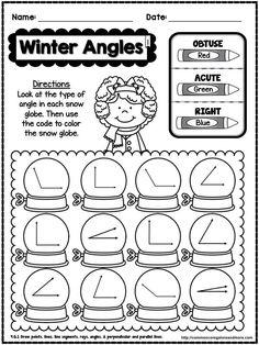 Winter Angles -- Free printable taken from a No-Prep Math Pack. Fourth Grade Math, Second Grade Math, Math Work, Fun Math, Maths, Math Resources, Math Activities, Winter Activities, Math Stations