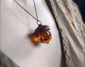 Mini Glass Acorn Necklace - Autumn Tones with Vintage Metal Leaf by Bullseyebeads. $24.00, via Etsy.