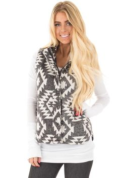 Lime Lush Boutique - Charcoal Aztec Patterned Zip Up Padded Vest, $46.99 (https://www.limelush.com/charcoal-aztec-patterned-zip-up-padded-vest/)