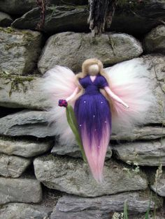 Violetta Needle Felted Wool fairy Nature fairy by LivelySheep