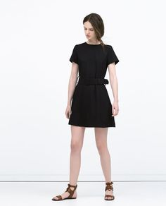 Image 1 of FAUX LEATHER PIPED DRESS from Zara