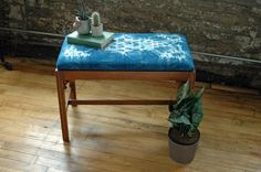 Vintage Bench with Hand-dyed Indigo Nui Shibori cushion. Custom designed fabric created especially for this upcycled piece by territoryhardgoods