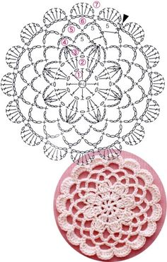 Crochet Mandala + Diagram + Free Pattern Step By Step Crochet Coaster Pattern, Crochet Motif Patterns, Crochet Diagram, Crochet Chart, Unique Crochet, Crochet Round, Irish Crochet, Crochet Dollies, Crochet Flowers