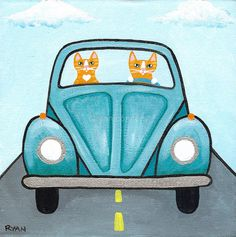 Tabby Cats VW Road Trip Original Folk Art by KilkennycatArt