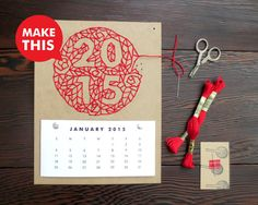 Paper and thread DIY calendar