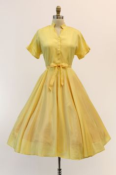 50s Yellow Day Dress Medium / 1950s Summer Button by CrushVintage