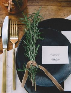 And don't worry about fancy centerpieces- A sprig from the garden is all you need.