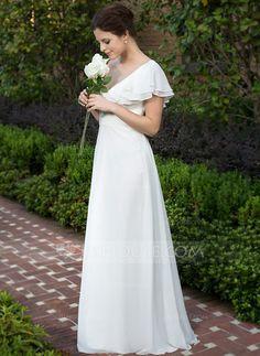 A-Line/Princess V-neck Floor-Length Chiffon Wedding Dress With Ruffle Cascading Ruffles (002026076)