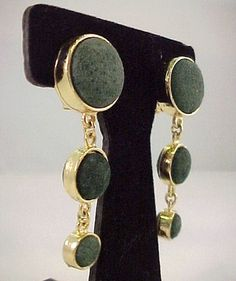 "Vtg ""DAVID"" Ginnie Johansen Army Grn Suede 2-3/4"" Gold Tone Dome Dangle Earrings  $24.95"