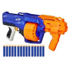 Slam the competition with a surge of 15 darts from the Nerf SurgeFire blaster! This N-Strike Elite blaster has a rotating drum that holds 15 darts. Nerf and all related properties are trademarks of Hasbro. Nerf Gun, Guerra Nerf, Arma Nerf, Drums For Sale, Nerf Darts, Nerf Toys, Toys R Us Canada, Crafts For Boys, Kids Toys