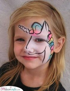 A more um acceptable version of unicorn face painting Truccabimbi unicorno Face Painting Unicorn, Girl Face Painting, Face Painting Tips, Unicorn Face, Face Painting Designs, Painting For Kids, Body Painting, Rainbow Unicorn, Horse Face Paint