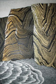 HARTLAND CLIFFS by Merlyn Chesterman Woodcut on plywood. 108 cm x 69 cm, on Okawara paper. Edition of 20 oil-based water washable relief printing ink Linoleum Block Printing, Collagraph, Landscape Prints, Wood Engraving, Woodblock Print, Artist Art, Block Prints, Printmaking Ideas, North Devon