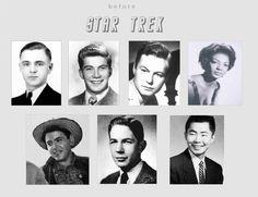The main cast in their younger years before Star Trek: Doohan, Shatner, Kelley, Nichols, Koenig, Nimoy, and Takei.