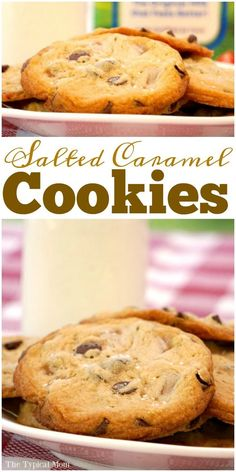 Salted caramel chocolate chip cookies are the bomb!! You've got to try this salted caramel recipe for dessert, really easy to do. via @thetypicalmom