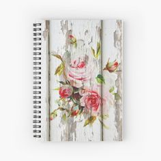 """shabby chic pink roses on a fading wooden background "" by wildseadesign 