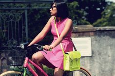 The Cambridge Satchel Co. Yellow Dress, Pink Dress, Sexy Outfits, Cute Outfits, Neon Bag, Pink Bike, Cambridge Satchel, Dress To Impress, Editorial Fashion