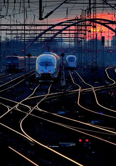 Train in Frankfurt, Germany ICE at dusk #RailwaySpaghetti #lok #tracks