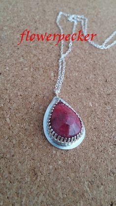 Ruby Pendant in Sterling Silver July Birthstone by flowerpecker