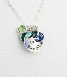 Expressive Women Colar Custom Name Engraved Necklace Birth Stone Necklaces Family Heart Pendant Colar Sterling Silver Chain Gift To Mom Jewellery & Watches