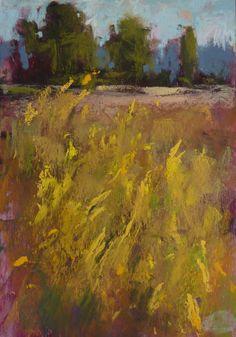 Autumn Goldenrod Landscape Plein Air by KarenMargulisFineArt, $145.00