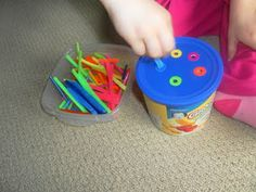 pipe cleaners & container for sorting