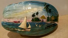 Vintage Hand Painted Scenic Coconut Belize 1997 in Collectibles | eBay