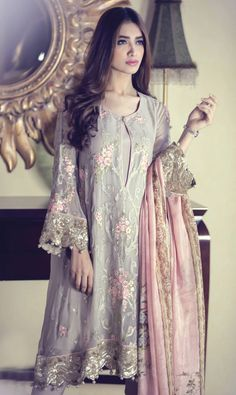 Buy Light Grey/Pink Embroidered Chinese Chiffon Dress by Maria B. Pakistani Outfits, Indian Outfits, Eid Outfits, Pakistani Couture, Formal Outfits, Indian Couture, Formal Wear, Trendy Outfits, Casual Wear