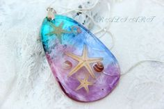 Resin starfish and seashell, jewelry seabed, Pendant resin seabed, Pendant resin starfish, oval resin pendant, Pendant purple blue starfish