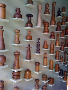 a taxonomic collection of Quistgaard pepper mills at Sam Kaufmann Gallery