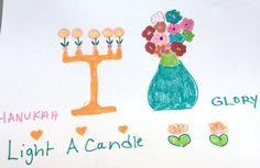 Happy Hanukah Menorah Flowers Orange Peach Green by LilyMoonsigns