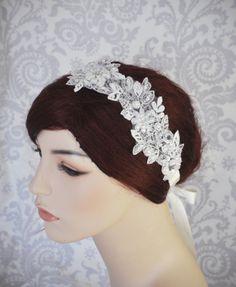 Bridal Lace Headpiece Wedding Headband with by januaryrosebridal, $78.00