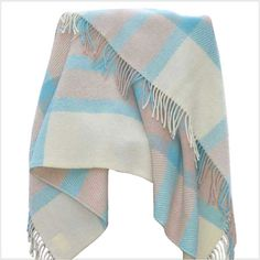 Blue Lambs Wool Plaid Throw. http://www.lalapatoot.com